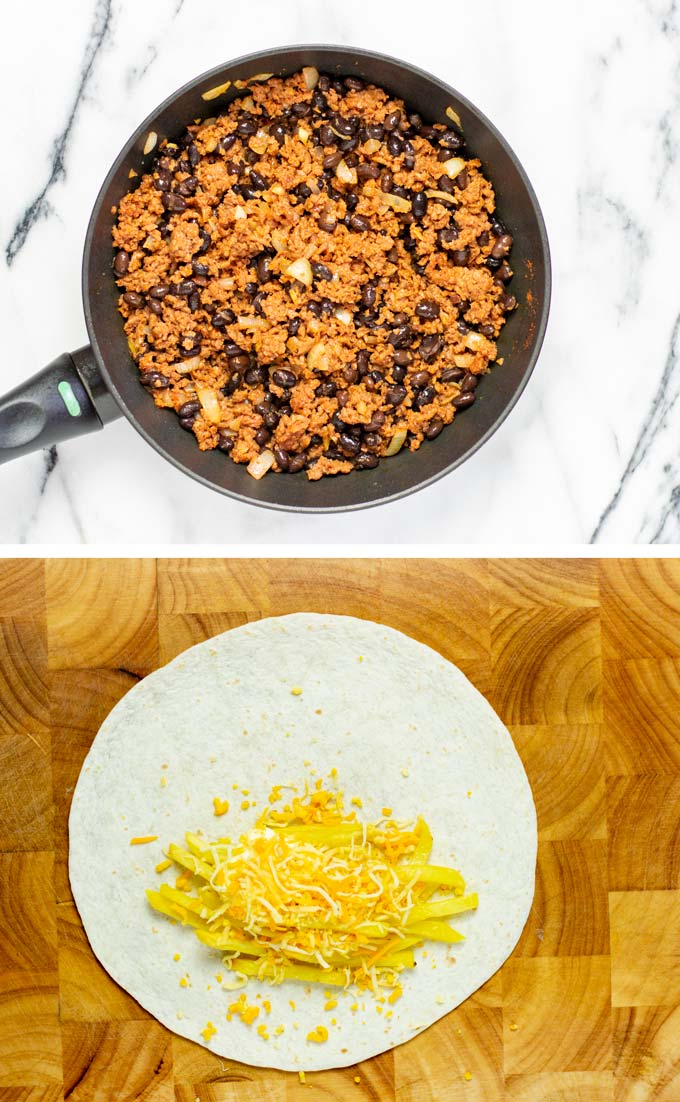 Showing the ready vegan taco meat and the first steps of making the filling of the French tacos.