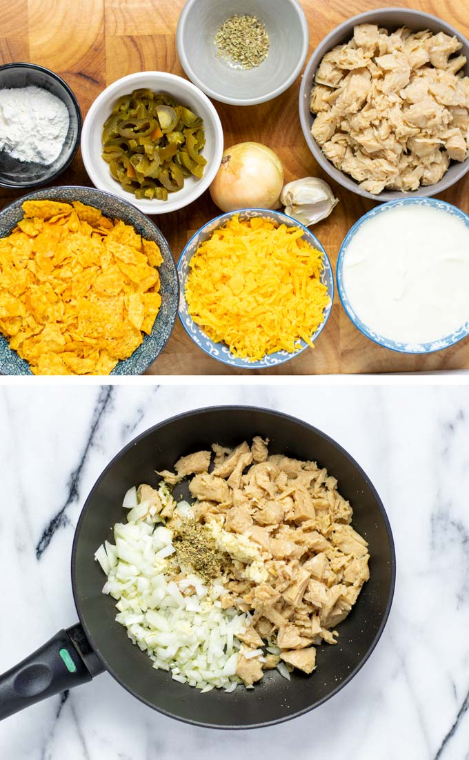 Ingredients needed for making this Nacho Chicken recipe assembled in small bowls on a wooden board.