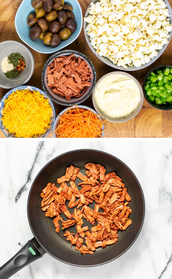 Ingredients needed to make the Popcorn Salad are assembled on a wooded board and vegan bacon is fried in a pan.