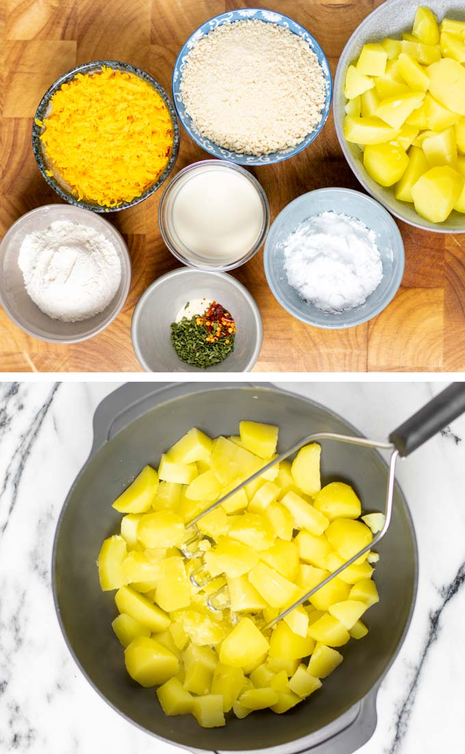 Ingredients needed to make the Potato Cheese Balls are assembled on a wooden board.
