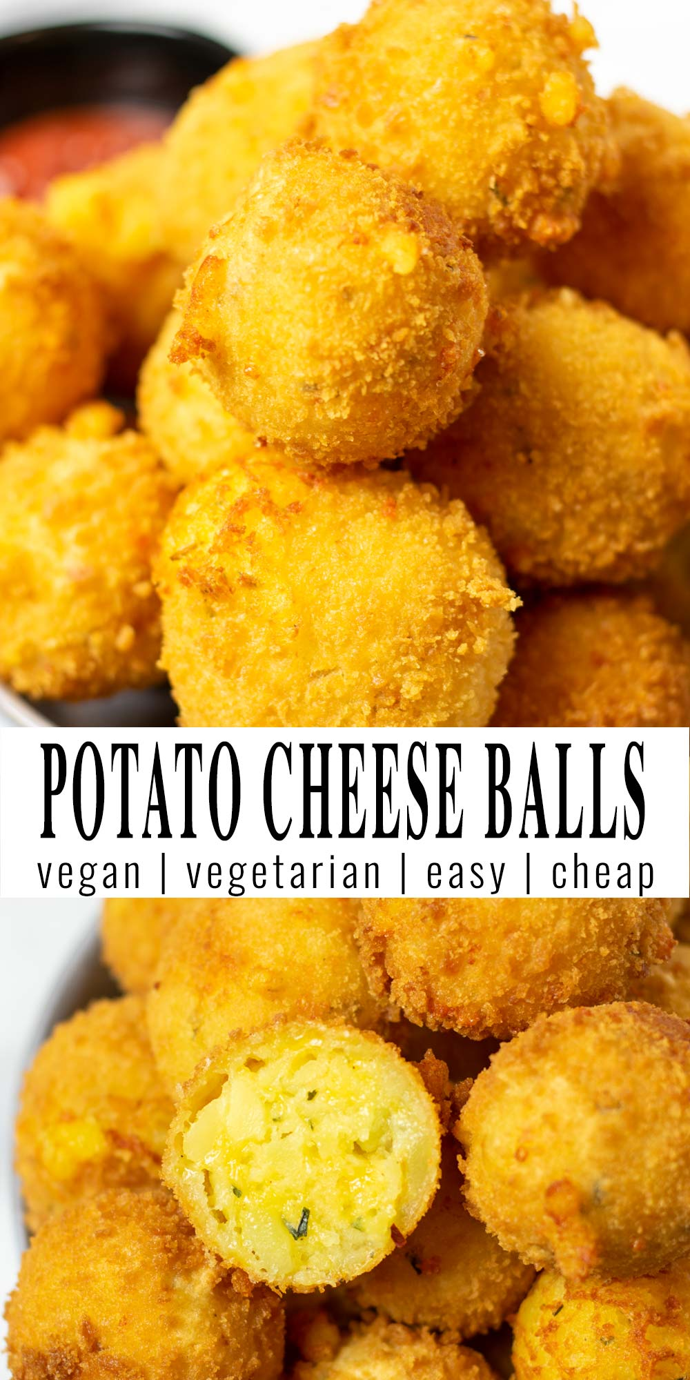 Collage of two pictures of the Potato Cheese Balls with recipe title text.