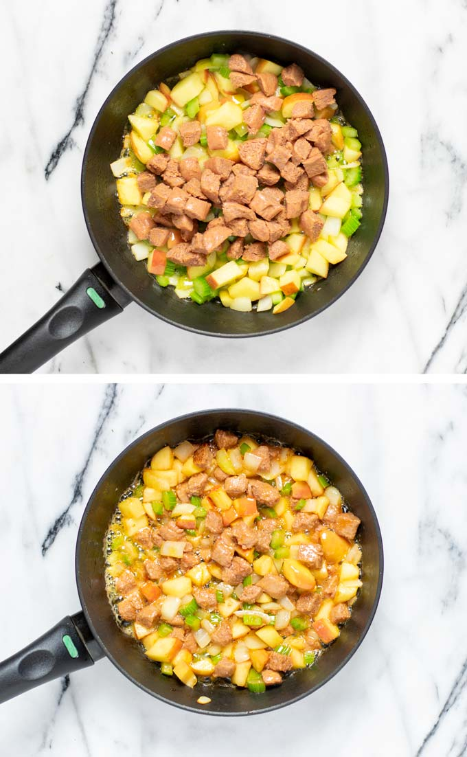 Before and after view of frying the apple, vegan sausage, celery and onions.