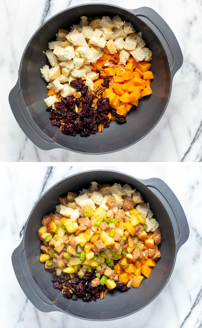 Showing how all the ingredients for the Sweet Potato Stuffing are mixed in a large mixing bowl.