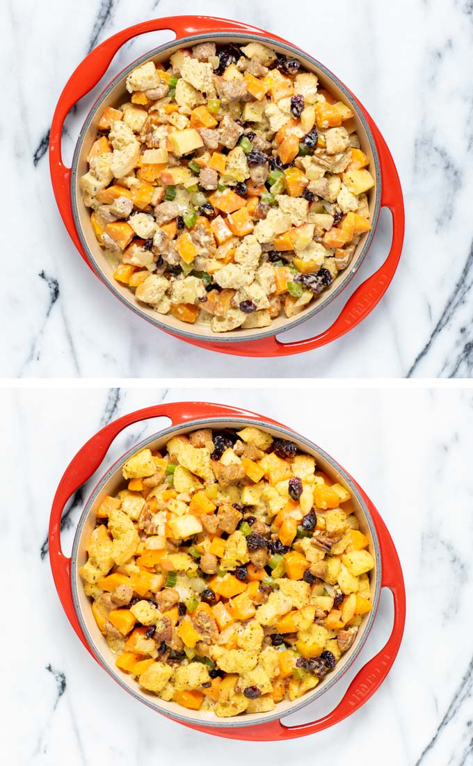 The Sweet Potato Stuffing is transferred to a baking dish and baked.