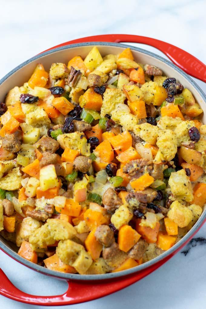 Closeup on the Sweet Potato Stuffing.