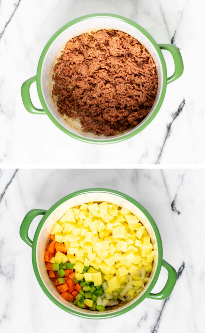 First vegan ground beef and then potatoes, carrots and celery are fried in a sauce pan.