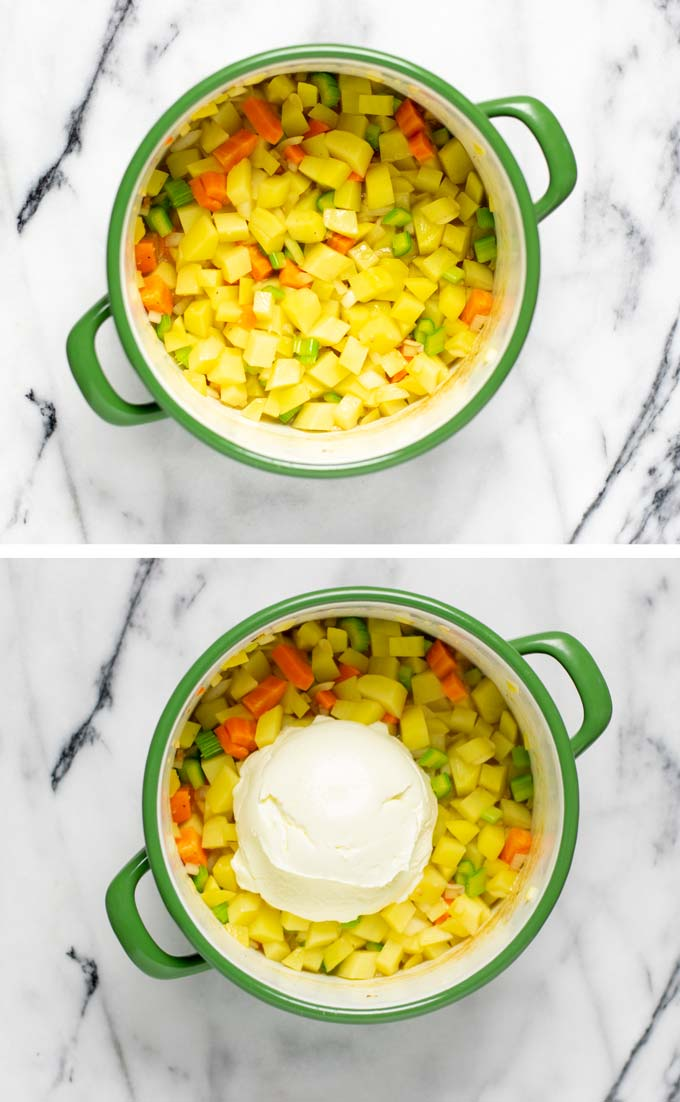 Showing how vegetable broth and sour cream are added to a pot with vegetable ingredients.