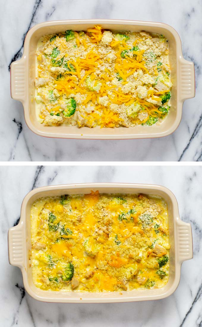 The Chicken Divan in a casserole dish before and after baking.