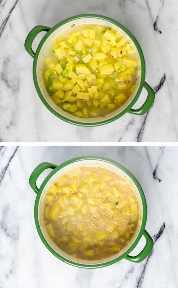 Vegetable broth and plant-based milk is added to the pot and the potatoes and vegetables are cooked for about 15 minutes.